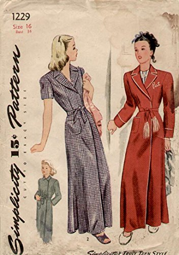 Simplicity 1229 Vintage 1940s Truly Teen Robe Pattern B34