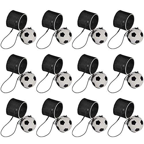 Kicko 2.25 Inch Soccer Return Ball Set - 12 Pack - Mini Bouncy Ball with Bungee String Attached in a Black Wristband- Indoor and Outdoor Games for Kids and Adults