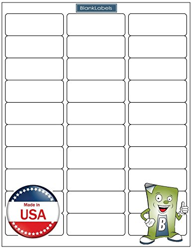"60000 Blank Labels Brand Economy Grade Address Labels. Fits Word Size 2-5/8"" x 1"" (2.625 x 1) Ink Jet and Laser Guaranteed. Made in USA (2000 Sheets)"