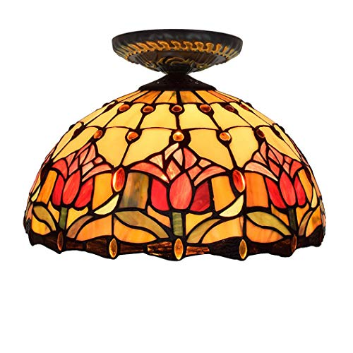 Tiffany style ceiling lamp lamp retro European semi-embedded ceiling light blue glass red tulip pattern handmade lampshade suitable for living room bedroom restaurant bar aisle corridor coffee shop ()