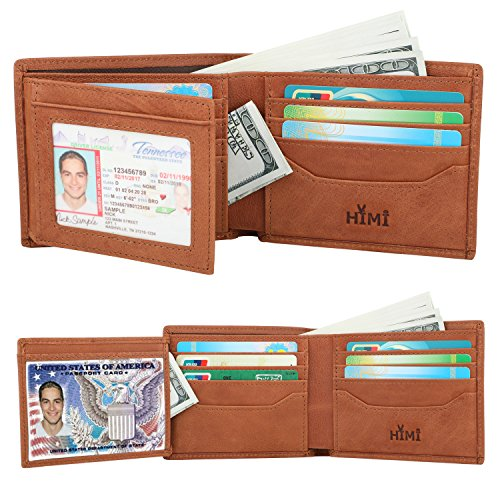 (Wallets for Men - RFID Blocking Trifold Genuine Leather Wallet With 2 ID Window)