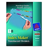 Avery Index Maker Translucent Dividers with Clear Labels, 5-Tab, Multi-Color, 1 Set  (11452)