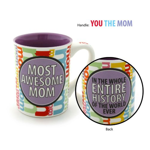 Enesco Our Name is Mud by Lorrie Veasey 16-Ounce Most Awesome Mom Mug, 4.5-Inch (Enesco Mug)