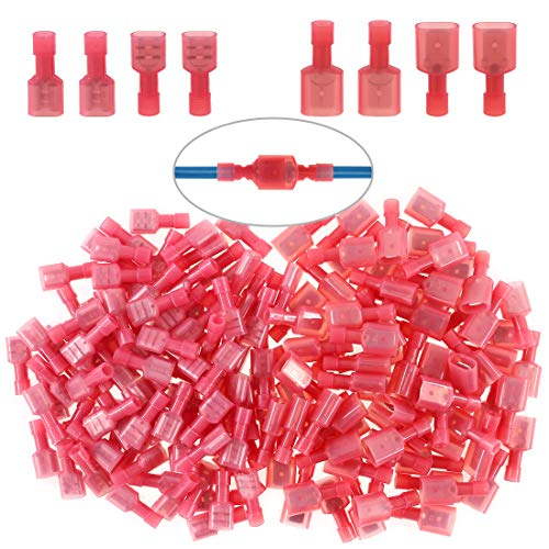 Glarks 50pcs 22-16 Gauge Fully Insulated Female Male Spade Nylon Quick Disconnect Electrical Insulated Crimp Terminals Connectors Assortment Kit
