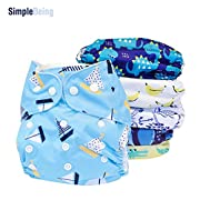SimplyLife Home Reusable Baby Cloth Diapers, Washable Adjustable Eco-Friendly, Soft Super Absorbent Fabric with Waterproof Cover, Breathable Comfortab