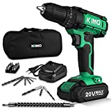 Cordless Drill Driver Kit, 20V Max Impact Hammer Drill Set w/ Lithium-Ion Battery, Fast Charger, 21+1+1 Clutch, 330 In-lb Torque, Variable Speed & Built-in LED for Drilling Walls, Bricks, Wood, Metal