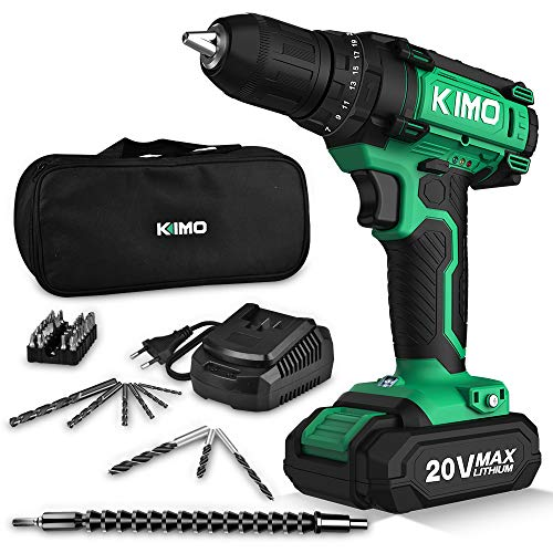 Cordless Drill Driver Kit, 20V Max Impact Hammer Drill Set w/ Lithium-Ion Battery, Fast Charger, 21+1+1 Clutch, 330 In-lb Torque, Variable Speed & Built-in LED for Drilling Walls, Bricks, Wood, Metal (Best Cordless Drill Under $100)
