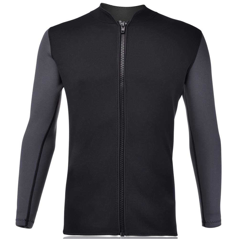 Realon Wetsuits Top Jacket Vest Mens Women 3mm Premium Shirt Neoprene Long Sleeve/Sleeveless Front Zip Sports XSPAN for Scuba Diving Surf Swimming Snorkel Windsurfing Suit (Men Jacket, S)