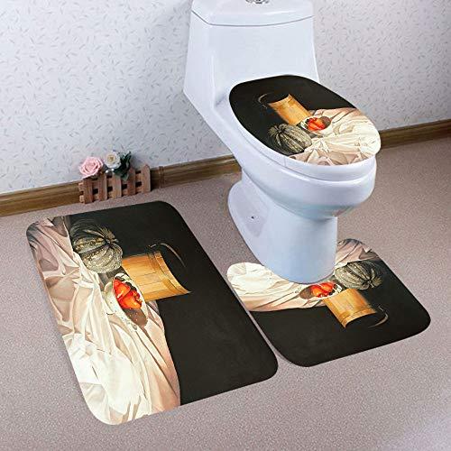 DEESEE(TM)3PCS Halloween Bathroom Non-Slip Pedestal Rug + Lid