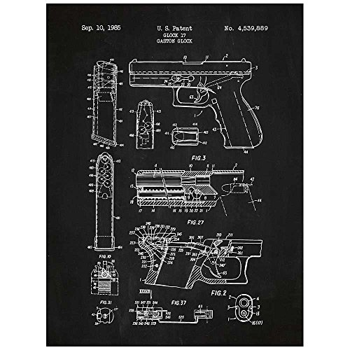 "Inked and Screened Military and Weaponry Glock 17 Handgun - G. Glock - 1985"" Print, Chalkboard - White Ink"