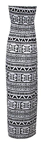 Tierleoparddruckscher Fast Boobtube Kleid Tribal Maxi Damen druck Azteken Stammes Fashion nZxwqZfRY