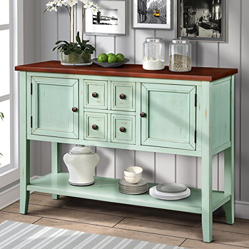 Harper&Bright Designs Cambridge Series Buffet Sideboard Console Table with Bottom Shelf (Antique Blue) -