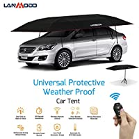 Lanmodo Pro 4-Season Wireless Automatic Car Tent Cover,Automatic Car Umbrella Tent Carport Canopy Beach Tent with Anti-UV,Water-Proof,Proof Wind,Snow 188.97X90.5 inch (4.8M Auto with Stand, Black)