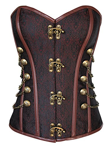 Charmian Women's Steampunk Gothic Vintage Steel Boned Brocade Overbust Corset with Chains Dark-Brown Medium