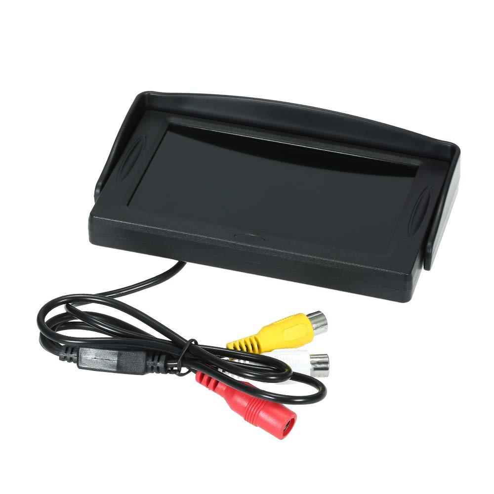 Display a colori TFT da 4,3 pollici Display per auto con schermo LCD per auto Monitor per parabrezza Monitor per parcheggio Ventosa con telecamera per la retromarcia