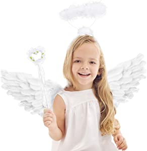Angel Wings and Halo White Feather Wing Kids for Adult Party Costume Children's Boys Girls Christmas Unique Gift (White Angel Wings and Halo and Angel Wand)