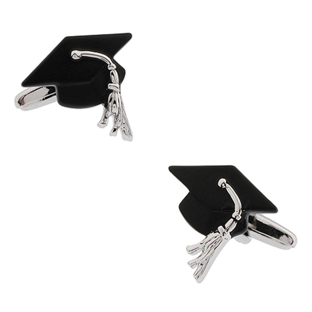 CIFIDET Boutons de manchette noirs de chapeau de chapeau de degr/é de mode hommes bijoux de chemise avec la bo/îte-cadeau