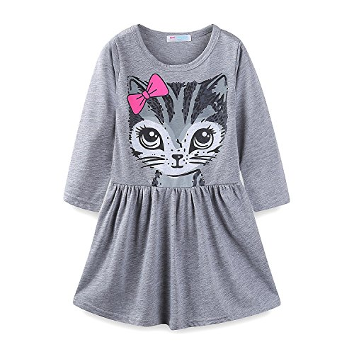 - Mud Kingdom Little Girls Long Sleeve Dresses Cotton Cat Face Size 7 Gray