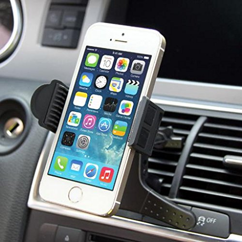 Price comparison product image Premium Car Mount AC Air Vent Holder Rotating Cradle Swivel Dock Black for T-Mobile Alcatel OneTouch Fierce 2 - T-Mobile Alcatel OneTouch Pop Astro - T-Mobile Blackberry Classic