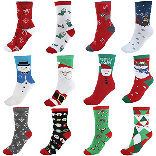 Ayliss 12Pairs Womens Cute Pattern Colorful Cotton Crew Socks,Christmas Style