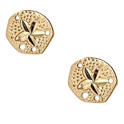 14K Yellow Gold Sand Dollar Diamond-Cut Stud Earrings Small 7 (14k Gold Small Sand)