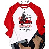 This is My Hallmark Christmas Movie Watching Shirt Women Funny Red Truck Long Sleeve Christmas Tree Cute Tops Blouse (Red, XX-Large)