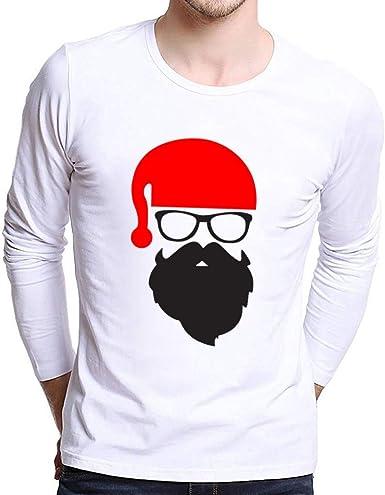 Hombre Camiseta de Manga Larga Navidad, Manga Larga Cuello Redondo Casual Santa Claus Impresión Otoño e Invierno Camisa de Moda Slim Fit Long Sleeve Blusa Tops Botón Shirt Diseño de Personalidad: Amazon.es: