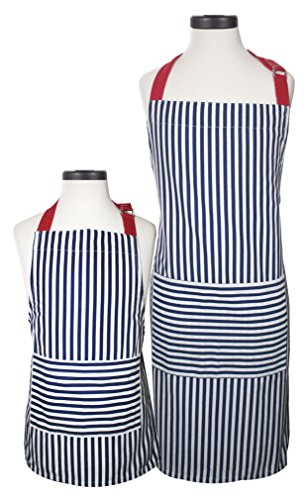 (Handstand Kitchen Adult and Child Bold Navy Stripe 100% Cotton Apron Gift Set)