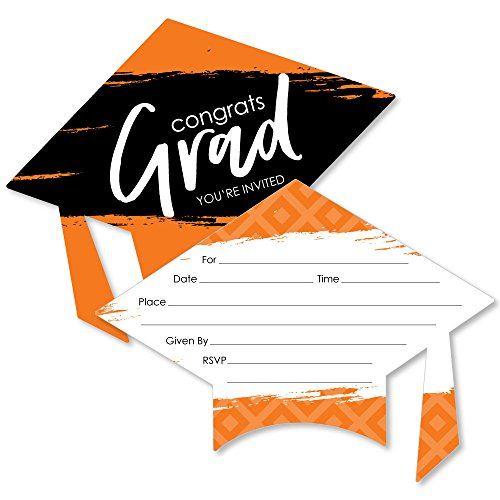 Orange Grad - Best is Yet to Come - Shaped Fill-in Invitations - Orange Graduation Party Invitation Cards with Envelopes - Set of - Invitations Party Orange