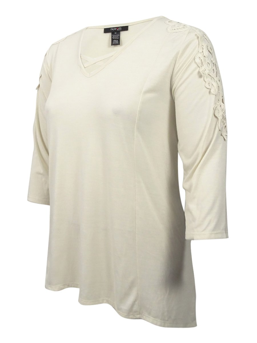 Style & Co. Womens Plus Crochet Trim Long Sleeves Casual Top Ivory 2X
