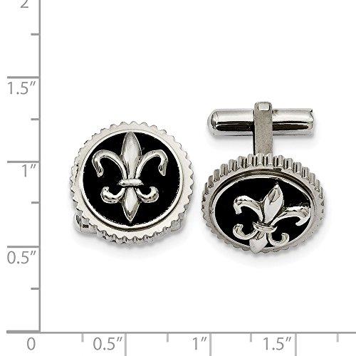 Jewelry Pot Titanium with Black Enamel Fleur De Lis Cuff Links