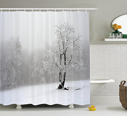 [Farm House Decor Shower Curtain Set Winter Landscape Picture with A Tree in Snowy Field and Foggy Forest at the Back Bathroom Accessories White] (The Pope Costume At The White House)