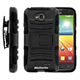 MINITURTLE Case Compatible w/ MINITURTLE, High Impact Rugged Hybrid Dual Layer Protective Phone Armor Case Cover w/ Built in Stand, Swiveling Holster Belt Clip, and Film for Prepaid Android Smartphone LG Optimus L70 MS323 (Black)
