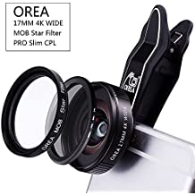 Mobile Phone Camera Lens Kit for Iphone,17MM Wide Lens & 18x Macro Attach Lens & Slim CPL Filter & 8x Star Filter & Universal Clip for Iphone Anroid Smartphone