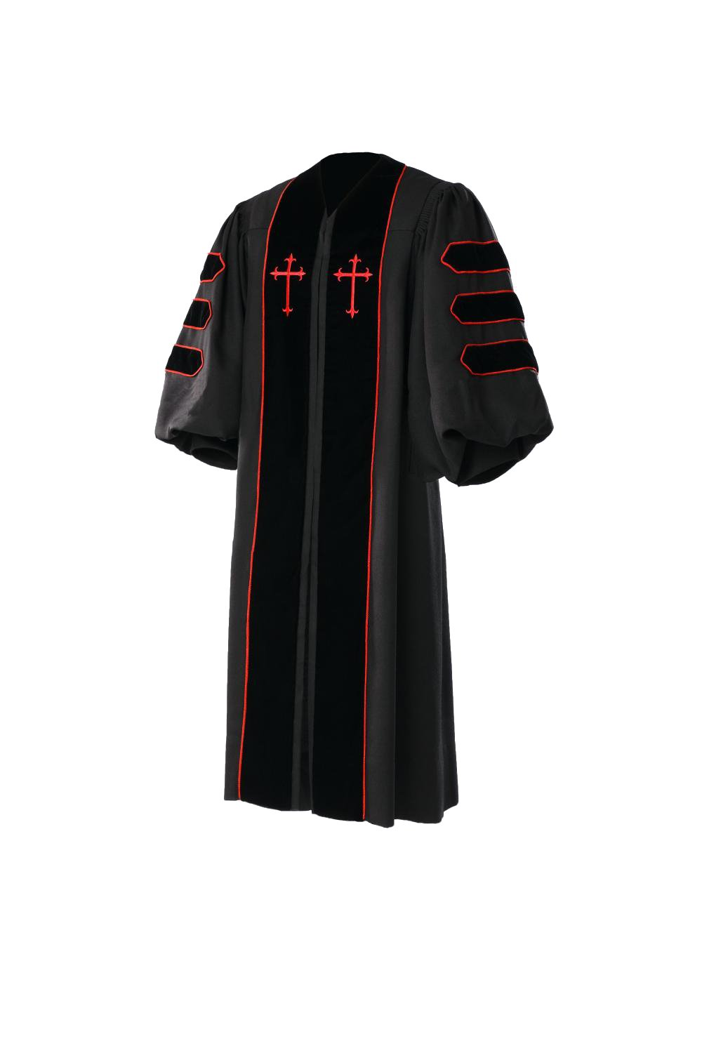 Manufaktur Women Dr. of Divinity Clergy Robe MERINO CASHMERE SILK Size 54 Black/Red