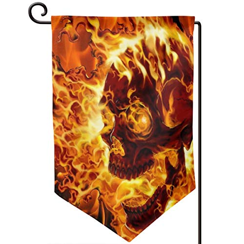 Private Bath Customiz Ghost Rider Fire Burning Skull Head Garden Yard Flag Welcome House Flag for Patio Lawn Outdoor Home Decor 12.5 X 18 Inch ()