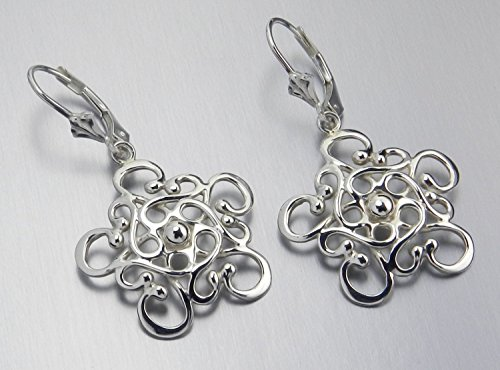 Silver Artisan Filigree Earrings - Made In Alaska Argentium Sterling Silver Filigree Snowflake Mandala Leverback Earrings