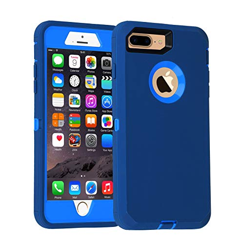 "iPhone 7 Plus/8 Plus Case,Heavy Duty Armor 3 in 1 Built-in Screen Protector Rugged Cover Dust-Proof Shockproof Drop-Proof Scratch-Resistant Anti-Slip Shell for Apple iPhone 7+/8+,5.5"" Blue/Navy"