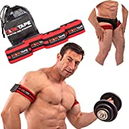 Starktape Blood Flow Restriction Bands. 4 Pack Occlusion Bands, 2 Inch Width for Arms and Legs Training. Gain