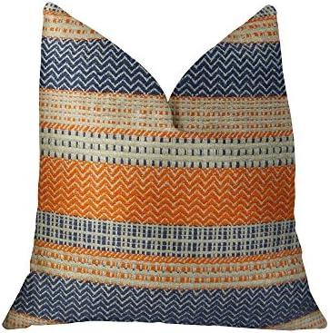Plutus Brands Plutus Full Range Handmade Throw Pillow, 20 x 36 King, Orange Navy Cream