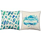 RoomCraft Set of 2 Hawaii Surfing Throw Pillows 16x16 Square White Indoor-Outdoor Cushions