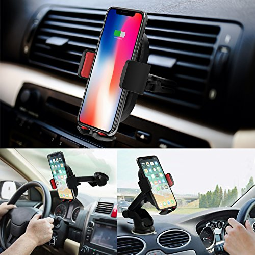 10W Wireless Car Charger, Detuosi Car Wireless Charger Car Phone Mount, Fast Charge for Samsung Galaxy S9/S8 plus/S8/S7/S6 Note 8/5, Standard Charge for iPhone X/8/8 Plus and all Qi Enabled Phones by DBNICE (Image #4)