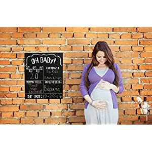 JennyGems Pregnancy Announcement Chalkboard & Photo Prop For Use With Actual Dry Chalk - Extra Large Size 14 x 16