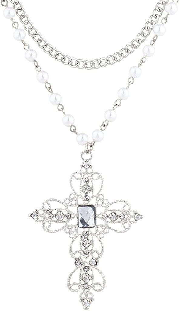 Lux Accessories Classic 80s Gothic Black Rosary Style Cross Pendant Necklace