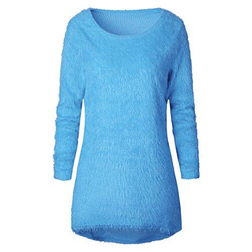 Longues Pull Slim Asymetrique Jumper Maille Blouse Landove Chemise Sweater Haut Hiver Femme Tunique Chaud Rond Long Manches Bleu Casual Top fit Col Chandail Solide Tricot 18rq1Z