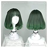 Women Girls Medium Size Harajuku Dark Green Ombre Lolita Wig Super Natural Club Bob Costume Party Daily Hair with Wig Cap