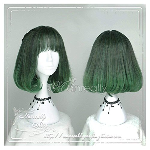 Women Girls Medium Size Harajuku Dark Green Ombre Lolita Wig Super Natural Club Bob Costume Party Daily Hair with Wig Cap by CHC FAIRY