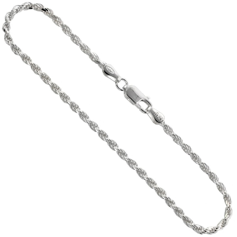 Sterling Silver Rope Chain Anklet 2.4 mm Diamond cut Nickel Free Italy 10 inch