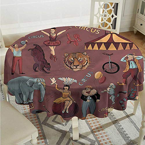 Vintage Washable Round Tablecloth Circus Tent Tiger Dogs Art Table Cover for Kitchen Dinning Tabletop Decoratio D50 - Tent Tigers