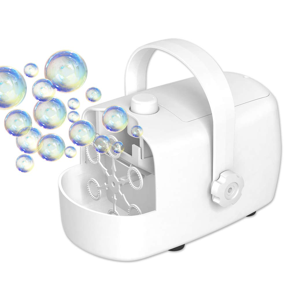 Bubble Machine for Kids, Automatic Bubble Blower, 2 Bubbles Blowing Speed Levels, Outdoor/Indoor Use, Powered by AC adapter or Batteries